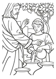 Image result for jesus turns water to wine coloring page