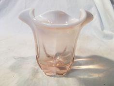 Duncan Miller Canterbury Pink Opalescent Vase Clover Leaf 4 inches  pre 1960 #DuncanMiller