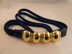 Blue and Gold Vintage Belt by VintageBaublesnBits on Etsy, $18.00