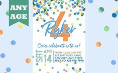 Fourth Birthday Invitation, Blue Confetti, Boy 4th Birthday Invite, Confetti Birthday, Any Age, Printable, Boy Birthday Invitation, Printed