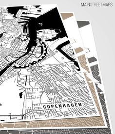 Copenhagen Map Art Print Denmark City Map by MainStreetMaps