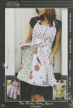 Pretty Ditty Apron - The Pretty Ditty apron offers a variety of choices from 3 child size options (small, medium,large) to 3 adult size options (small, medium, large). The pattern also includes instructions to make the apron reversible or non-reversible. This pattern is complete with illustrated instructions and full size pattern pieces. A simple pattern for a boutique looking apron.