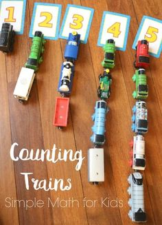 Look no further than your child's toy train collection for a hands-on manipulative to use to learn simple math skills like counting, 1:1 correspondence, and addition/ subtraction.
