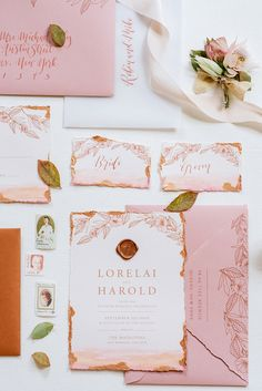 peach and copper wedding invitations - http://ruffledblog.com/fall-wedding-inspiration-with-mauve-and-apricot-hues
