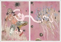 """Celebrate #IWD2016 with Wangechi Mutu's depiction of pioneering feminist Funmilayo AnikulapoKuti. Mother of the famous musician Fela Kuti she is said to have been the first woman to drive a car in Nigeria and fought against the practice of female genital mutilation. Mutu explains why this diptych is both tantalizing and menacing: """"The image and title are infested with the inherent contradictions that were the experience of a radical like Funmilayo. A visionary and brave fighter she was…"""