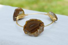 Wire Wrapped Brown Agate Geode Slice Bangle Bauble Bracelet