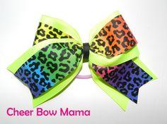 Neon Rainbow Leopard 2-1/4 inch Cheer Bow by Cheer Bow Mama