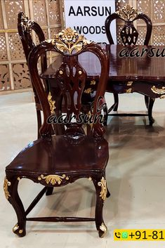 A Classic Dining Set with the famous Chippendale Back Chairs without any cushions as required by the client. The Golden Highlighting on the chairs and on the dining table gives a royal look to the set. This set does not have any master chairs. #Chippendale #Dining #Woodworking