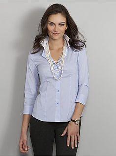 City Stretch Shirt - 3/4 Sleeve Narrow Stripe