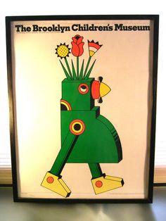 VINTAGE Seymour CHWAST Poster Brooklyn Children's Museum Framed, Milton Glaser