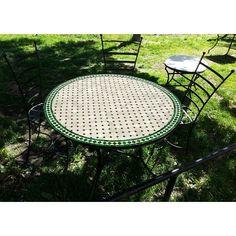 mosaikbord rund grön & vitt
