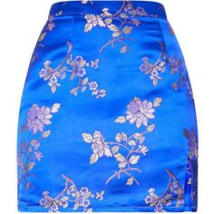 Cobalt Oriental Jacquard Split Mini Skirt ($28) ❤ liked on Polyvore featuring skirts, mini skirts, bottoms, faldas, pretty little thing, set, short blue skirt, blue skirt, short mini skirts and blue mini skirt