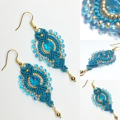 Macrame' earrings. Orecchini in macrame'. www.annodarte2013.blogspot.it
