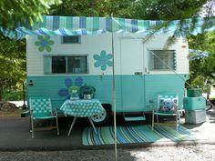 "Vintage Turquoise Blue 1964 Travel Trailer, Oasis ""Bellflower"" Camper Caravan. Love the details and the vintage radio too!!"