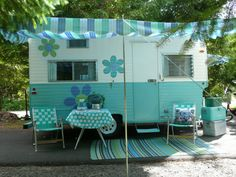 "Vintage Turquoise Blue 1964 Travel Trailer, Oasis ""Bellflower"" Camper Caravan"