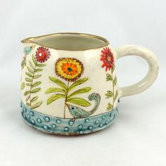 Ceramic Jug with Stylised Flowers, by Stacey Manser Knight Pottery Painting, Ceramic Painting, Ceramic Art, Pottery Bowls, Ceramic Pottery, Pottery Art, Painted Ceramic Plates, Hand Painted Ceramics, Ceramic Pitcher