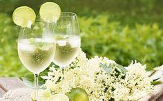 """Hugo-Cocktail mit Holunderblüten Sirup – Frische Holunderblüten, Holundersirup, Limetten, Minze und Prosecco – so einfach ist der """"Hugo"""" zu mixen."""