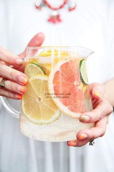 No alcohol? Add these mocktails to your menu: Citrus Coconut Soda Mocktail Recipe - Refreshing as a pregnancy mocktail or just make a pitcher and enjoy all day long! Refreshing Drinks, Summer Drinks, Cocktail Drinks, Fun Drinks, Healthy Drinks, Cocktail Recipes, Alcoholic Drinks, Beverages, Cocktails