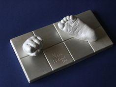 Bebé- huella 3d base rectangular, plata y blanco 3d, Foot Prints, Sculptures, Silver, White People