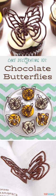 Decorate cakes and cupcakes like a pro with this diy chocolate butterfly trick. These delicate chocolate confections may look impossible to make but this simple technique makes them easy. Click to watch the video and give your spring desserts a flight of whimsy!  #cakes #desserts