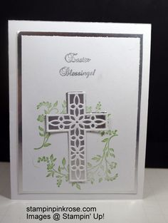 Stampin' Up! CAS Easter card with Hold on to Hope stamp set and designed by Demo Pamela Sadler. Use the beautiful cross to express your feelings. See more cards at stampinkrose.com #stampinkpinkrose #etsycardstrulyheart