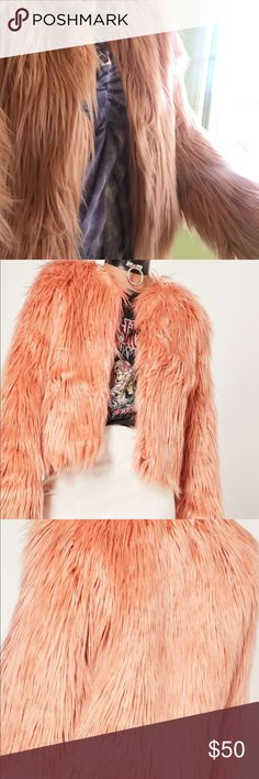 Misguided faux fur coat pink Brand new with tags still attached faux fur missguided coat. Fun piece to add to your wardrobe. Feel free to make an offer! Missguided Jackets & Coats