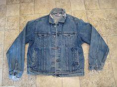 Vintage 90s Caboose Distressed Frayed Denim Trucker Jacket Made USA 42 R Grunge