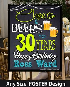 #Cheers&Beers 30th 40th 50th Birthday by M2MPartyDesigns on Etsy
