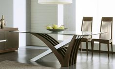 Get inspired by Modern Dining Room Design photo by Wayfair. Wayfair lets you find the designer products in the photo and get ideas from thousands of other Modern Dining Room Design photos. Simple Dining Table, Glass Top Dining Table, Wooden Dining Tables, Dining Table Design, Dining Table In Kitchen, Glass Tables, Small Dining, Oak Table, Glass Kitchen