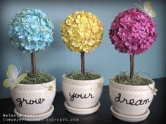 """The Paper Retreat: """"Grow Your Dream"""" paper flower topiaries"""