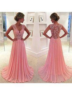 A-Line/Princess Sleeveless Chiffon Lace V-neck Sweep/Brush Train Dresses DressyWell