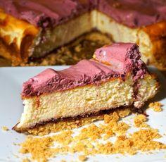 Sernik z pianką porzeczkową Cheesecake with black currant #biodika