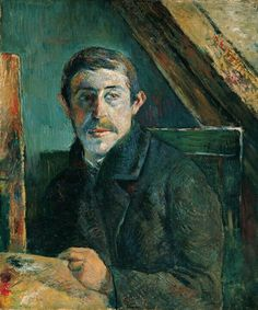"Paul Gauguin, Self-Portrait, 1885  ""Examination of  the painting under infrared light and with radiographs has  revealed that Gauguin made important changes in his self-image as he  developed it ever more starkly. At first he portrayed himself in profile  and included reproductions of his own paintings on the background wall.  Turned to confront the viewer in the final work, he shows himself  left-handed, like his image in a mirror, crowded in an attic space with a  slanted beam, and cold."