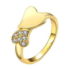 Classic 24K Gold Plated Heart White Cubic Zirconia Ring for Women GPR909