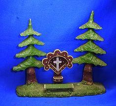 Vintage German Folk Art Black Forest Landscape Trees with Cross Memorial # 3