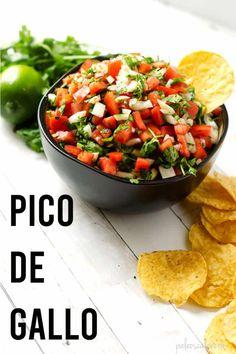 The Best Pico de Gallo Recipe Paleo Dip Recipe, Best Paleo Recipes, Whole30 Dinner Recipes, Healthy Party Snacks, Paleo Sauces, Fresh Salsa, Sauce Recipes, Hummus, Dips