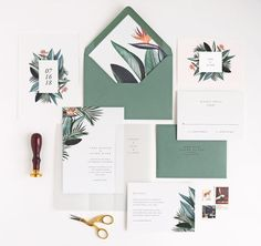 Tropical Wedding Invitations, Rachel Marvin Creative, birds of paradise, palm leaves, modern, minimal