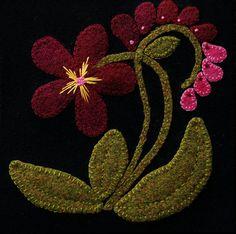 Applique de laine MOTIF BOM &/ou KIT Fleur par HorseAndBuggyCountry