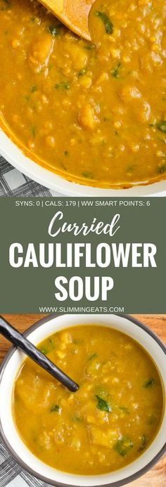 Slimming Eats Syn Free Curried Cauliflower Soup – gluten free, dairy free, vegan, Slimming World and Weight Watchers friendly – Healty Smoothies Slimming World Soup Recipes, Vegan Slimming World, Slimming Eats, Healthy Soup Recipes, Diet Recipes, Cooking Recipes, Weightloss Soup Recipes, Recipies, Vegan Recipes