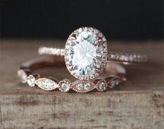 Forever Classic C&C Moissanite Engagement Ring Set 1.0ct Round