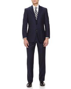 Two-Piece Herringbone Wool Suit, Navy by Hickey Freeman at Neiman Marcus Last Call.