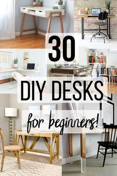 Great collection of DIY desk ideas that are easy to build for beginners! Includes wood desk ideas for small spaces, organization, L-shaped and small office spaces with storage and with drawers! diy for beginners plans tips tools Small Woodworking Projects, Woodworking Furniture, Diy Woodworking, Furniture Plans, Woodworking Techniques, Canadian Woodworking, Woodworking Chisels, Japanese Woodworking, Building Furniture