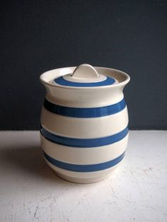 Check out this item in my Etsy shop https://www.etsy.com/uk/listing/552576869/vintage-kitchen-storage-pot-lidded-blue