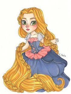 Chibi Fantasia Rapunzel by on DeviantArt Rapunzel And Flynn, Disney Rapunzel, Disney Art, Disney Pixar, Disney Princesses, Disney Movie Characters, Disney Movies, Disney Couples, Animated Cartoons