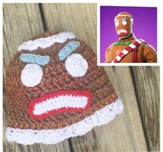 Fornite Merry Marauder Hat Fornite Gingerbread Man Hat Fortnite Merry Marauder Hat Fortnite Gingerbread Skin Crochet Ready to Ship! C2c Crochet, Crochet Quilt, Crochet Patterns, Crochet Hats, Crochet Ideas, Knifty Knitter, Knitting, Crochet Character Hats, Free Pattern