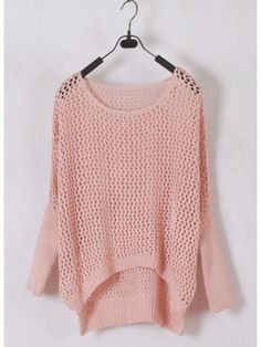 Women Euro Style Hollow-out Bat-wing Sleeve Scoop Asymmetrical Pink Knitting Sweater One Size only in eFexcity.com.