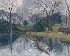 "John Nash, ""The Lake, Little Horkesley Hall"" (c. I love this lake & garden. Winter Landscape, Landscape Art, Landscape Paintings, Henry Moore, Aberdeen Art Gallery, John Nash, English Artists, British Artists, Museum Art Gallery"