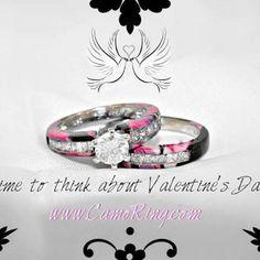 - News Hair-Sytles Wedding Sets, Wedding Themes, Fall Wedding, Our Wedding, Dream Wedding, Wedding Stuff, Pink Camo Wedding, Camo Wedding Rings, Wedding Bands