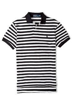 Black and White Stripe Polo Shirt by Polo Ralph Lauren 11c662e83925