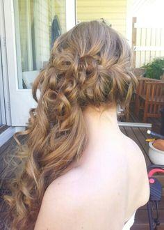 Braid and curls. Half up hairdo for a bridesmaid #tuuli okkonen